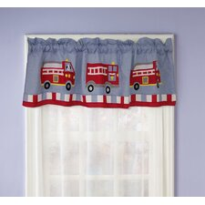 Cotton Fire Truck Rod Pocket Tailored Curtain Valance