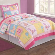 Flutter of Butterflies 2 Piece Twin Quilt Set