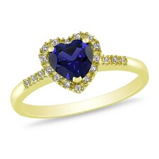 1/10 Carat Diamond and Seven Eights of a Carat Created Sapphire Heart Ring