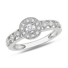 10K White Gold Round Cut Diamond Halo Ring