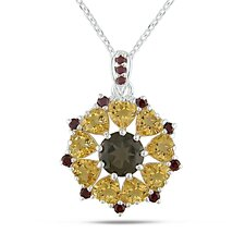 Sterling Silver Sunburst Gemstone Pendant