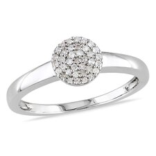 Sterling Silver Round Cut Diamond Fashion Ring