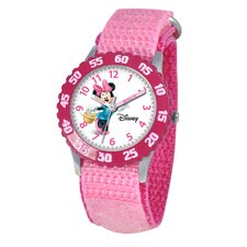 Kid's Minnie Mouse Time Teacher Velcro Watch in Pink