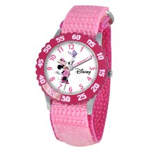 Kid's Minnie Mouse Time Teacher Velcro Strap Watch in Pink
