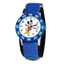 Kid's Mickey Stainless Steel Time Teacher Velcro Watch in Blue with Blue Bezel