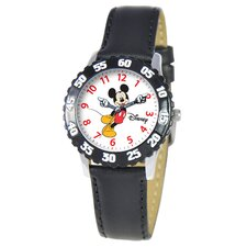 Kid's Mickey Stainless Steel Time Teacher Watch in Black