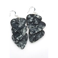 Guitar Pick Earrings in Charcoal and Silver