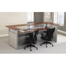 RiZe Panel System U-Shaped Reception Station with Mid Back Mesh Executive Chair Suite