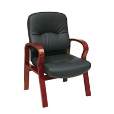 Leather Visitors Chair with Wood Base and Arms