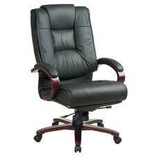 Leather High-Back Office Chair with Arms