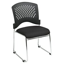 Plastic Back SpringFlex Fabric Seat Visitors Office Chair with Chrome Frame Sled Base, Gangable and Stackable, 20 Pack