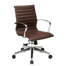 Mid-Back Eco Leather Deluxe Office Chair with Polished Aluminum Arms and Base