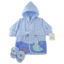 Just Born Whale Woven Terry Robe and Bootie Set