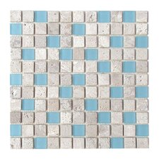 "Travertine Glass 12"" x 12"" Mosaic in Rain"