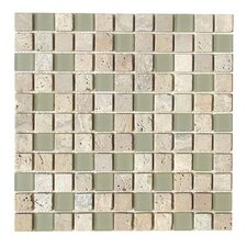 "Travertine Glass 12"" x 12"" Mosaic in Fossil"