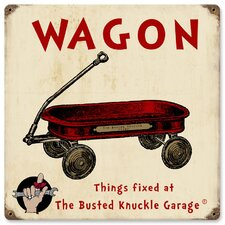 Busted Knuckle Garage Kid's Red Wagon Sign