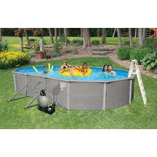 "Belize Oval 52"" Deep, 6"" Top Rail Above Ground Pool Package"