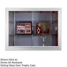 Series 70 Recessed Hinged Glass Door Trophy Cases - Natural Cork / Wood Veneer (Without Lighting)