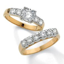 Gold Plated Round Cubic Zirconia Wedding Ring 2 Piece Set