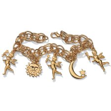 Goldtone Sun, Moon and Angel Bracelet