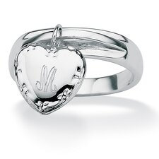 Silvertone Personalized Heart Charm I.D. Ring