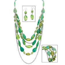 Silvertone Green Lucite Nugget Jewelry Set
