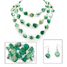 Green Shell and Simulated Pearl Jewelry Set