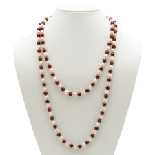 Ruby Red and White Pearl Necklace