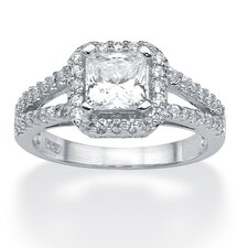 Platinum/Silver Round Princess-Cut Cubic Zirconia Ring