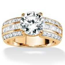 Gold Plated Round and Princess-Cut Cubic Zirconia Ring