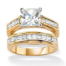 14k Gold Plated Princess-Cut Cubic Zirconia Wedding Ring Set