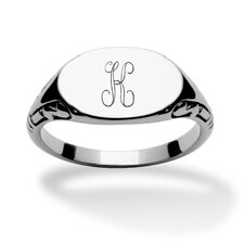 Stainless Steel Oval Personalized Initial I.D. Ring