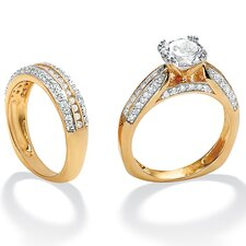 Round Cubic Zirconia Squared Wedding Ring Set