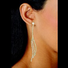 White Crystal Curved Drop Earrings