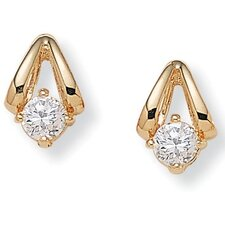 Round Cubic Zirconia Pierced Earrings