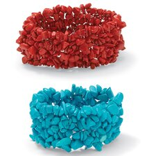 Coral and Turquoise Stretch Nugget Bracelets (Set of 2)