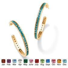 14k Gold-Plated Birthstone Hoop Pierced Earrings