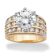 14k Yellow Gold Round Cut Cubic Zirconia Ring