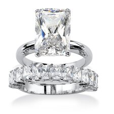 Platinum Emerald Cut Cubic Zirconia Bridal Ring Set