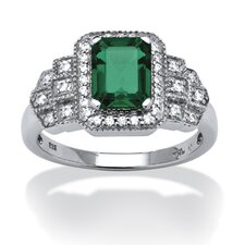 Lab Created Platinum Over Silver Emerald Ring