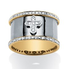 Men's Cubic Zirconia Cross Band Ring