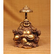 Brass Series Laughing Buddha Sitting on Chair with Umbrella Statue