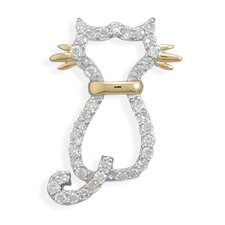 Rhodium Plated Ster. Silver CZ Cat Slide 14 Karat Gold Plated Sterling Silver Whiskers Collar Charm