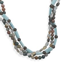 Sterling Silver 16 Inch+ 2 InchTriple Strand Multistone Necklace - 16 Inch