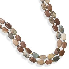 22 InchSterling Silver Double Strand Fall Jasper And Faceted Crystal Bead Toggle Necklace - 22 Inch
