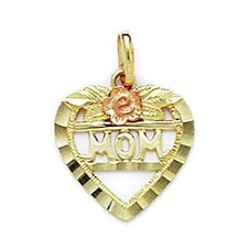 14k Yellow and Rose Gold Mom Pendant- Measures 19x14mm- 19 Inch