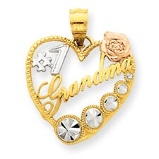 14k Yellow Rose Gold Rhodium Number 1 Grandma Heart Pendant
