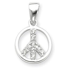 Sterling Silver CZ Peace Sign Pendant