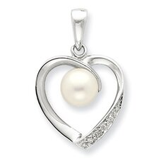 Sterling Silver 6mmFW Cultured Pearl and Diamond Heart Pendant