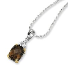 Sterling Silver and 14K Smokey Quartz and White Topaz Necklace - 18 Inch